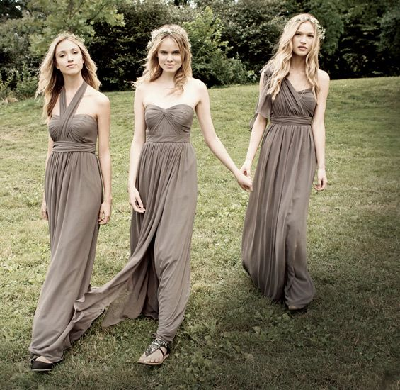 Women in taupe colored bridesmaid dresses