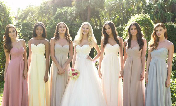 Same bridesmaid dresses in different colors